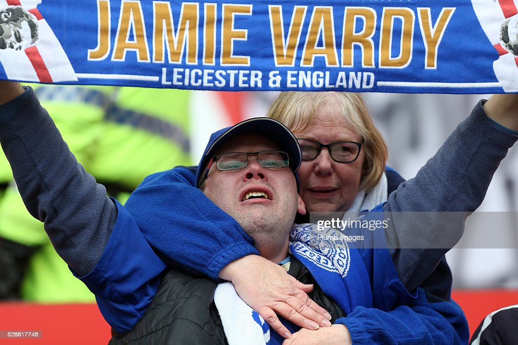 Leicester fans during the Premier League match between Manchester United and Leicester City at Old Trafford on May 01, 2016 in Manchester, United Kingdom.