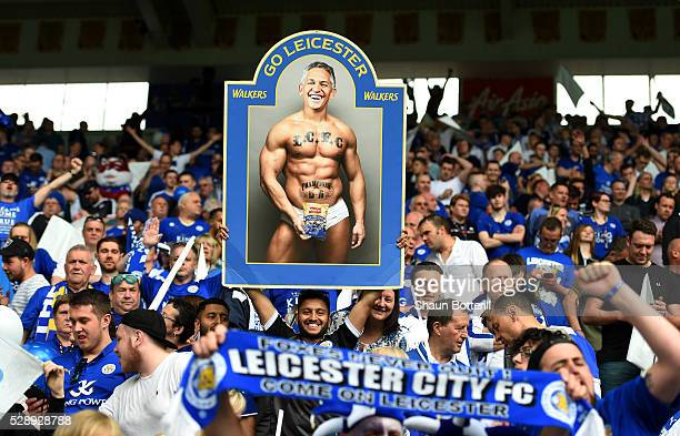 Leicester fans hold a poster displaying the image of former Leicester footballer Gary Lineker in his underwear in relation to the TV presenter's...