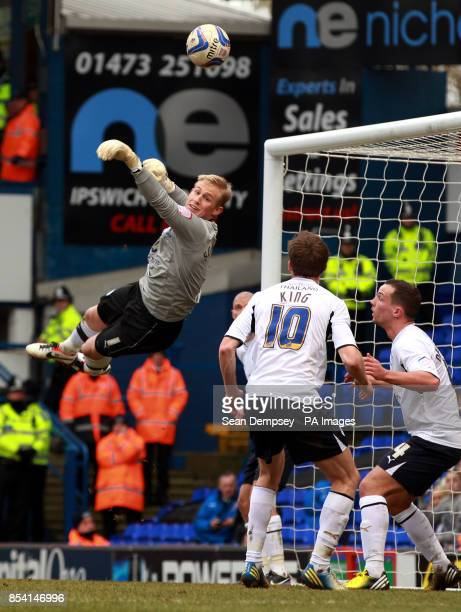 Leicester goalkeeper Kasper Schmeichel makes a save during the npower Football League Championship match at Portman Road Ipswich