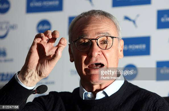Leicester manager Claudio Ranieri attends a Leicester City press conference at King Power Stadium on February 25 2016 in Leicester United Kingdom