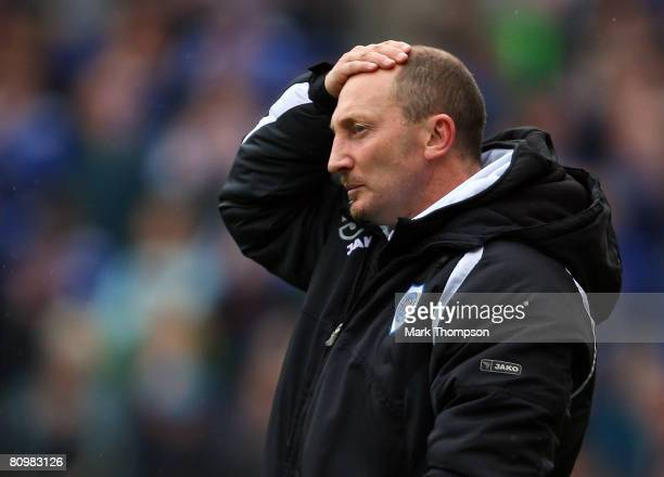 Leicester Manager Ian Holloway holds his head during the CocaCola Championship match between Stoke City and Leicester City at Britannia Stadium on...