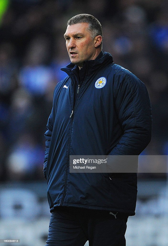 Leicester manager Nigel Pearson looks on during the FA Cup Fourth Round match between Huddersfield Town and Leicester City at the Galpharm Stadium on January 26, 2013 in Huddersfield, England.