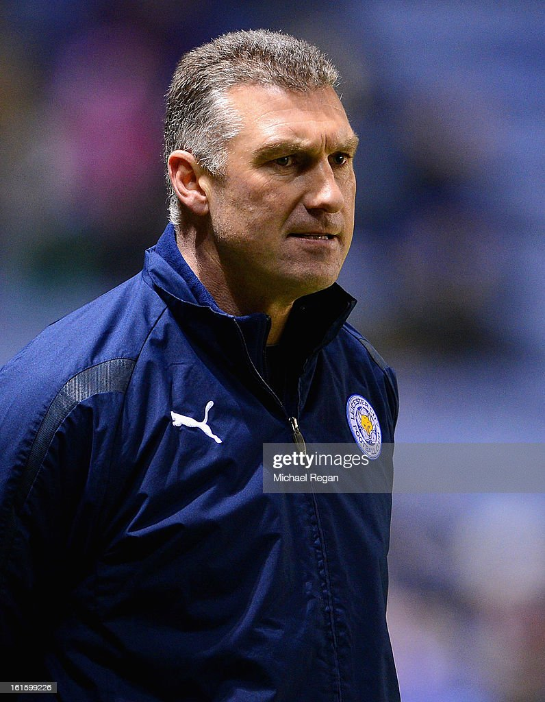 Leicester manager Nigel Pearson looks on during the FA Cup Fourth Round Replay between Leicester City and Huddersfield Town at The King Power Stadium on February 12, 2013 in Leicester, England.