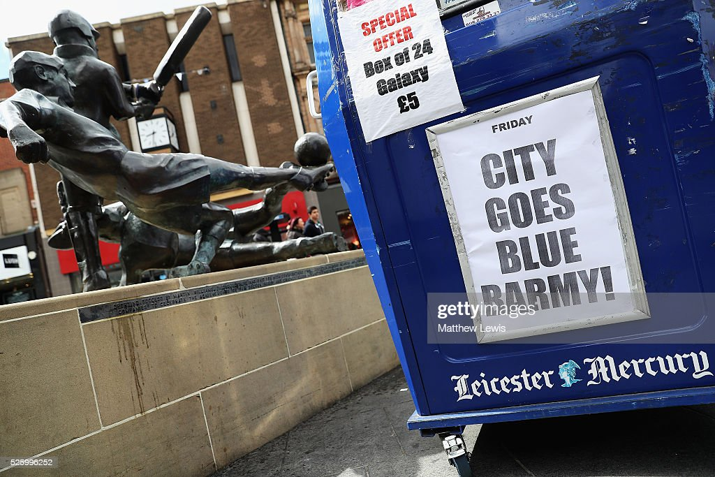 A Leicester Mercury news seller shows their support towards Leicester City FC during a Leicester Backing the Blues Campaign in support of Leicester City on April 29, 2016 in Leicester, England.