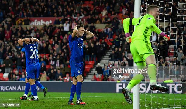 Leicester player Andy King reacts after Sunderland goalkeeper Jordan Pickford had made a last minute save to deny Leicester a draw during the Premier...