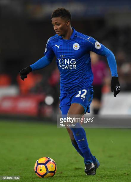 Leicester player Demarai Gray in action during the Premier League match between Swansea City and Leicester City at Liberty Stadium on February 12...