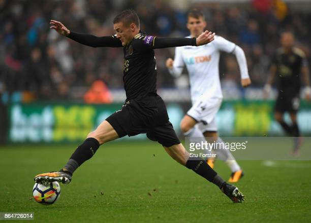 Leicester player Jamie Vardy in action during the Premier League match between Swansea City and Leicester City at Liberty Stadium on October 21 2017...