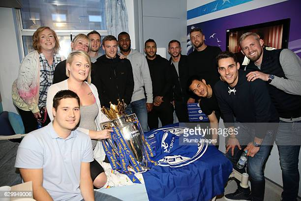 Leicester players during the Leicester City Players Deliver Christmas Presents to Patients at Leicester Royal Infirmary on December 15 2016 in...