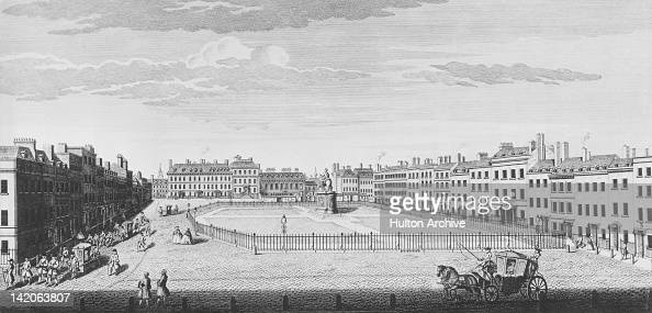 Leicester Square in London circa 1740 Engraved by Nathaniel Parr after John Maurer