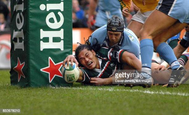 Leicester Tigers' Alesana Tuilagi touches down under the posts for their opening try against Cardiff Blues during the Heineken Cup Pool Four match at...