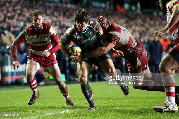 Leicester Tigers' Anthony Allen is tackled by Gloucester Rugby's Ben Morgan during the Aviva Premiership match at Welford Road Leicester