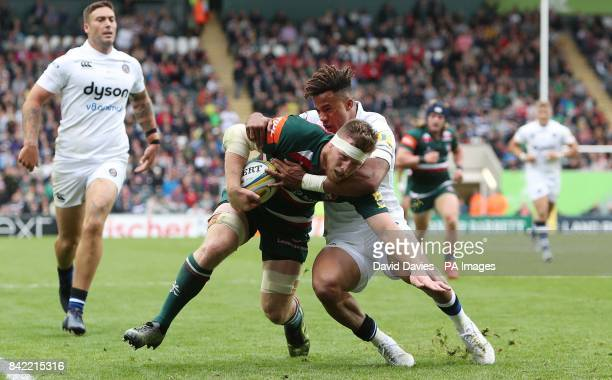 Leicester Tigers Brendon O'Connor is tackled by Bath's Anthony Watson during the Aviva Premiership match at Welford Road Leicester