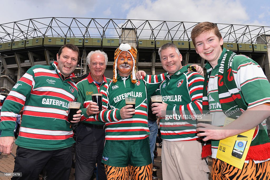 Leicester Tigers fans enjoy the atmosphere before the Aviva Premiership Final between Leicester Tigers and Northampton Saints at Twickenham Stadium on May 25, 2013 in London, England.