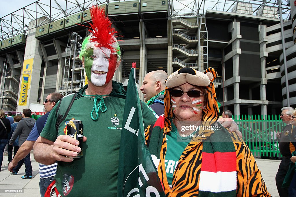 Leicester Tigers fans pose for pictures before the Aviva Premiership Final between Leicester Tigers and Northampton Saints at Twickenham Stadium on May 25, 2013 in London, England.