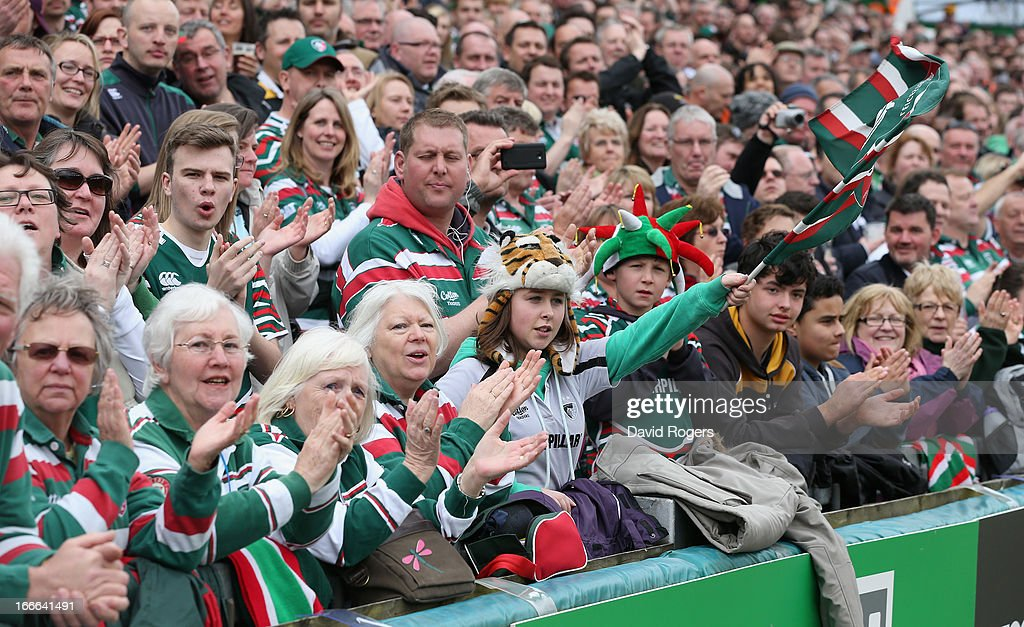 Leicester Tigers fans shout encouragement during the Aviva Premiership match between Leicester Tigers and London Wasps at Welford Road on April 14, 2013 in Leicester, England.