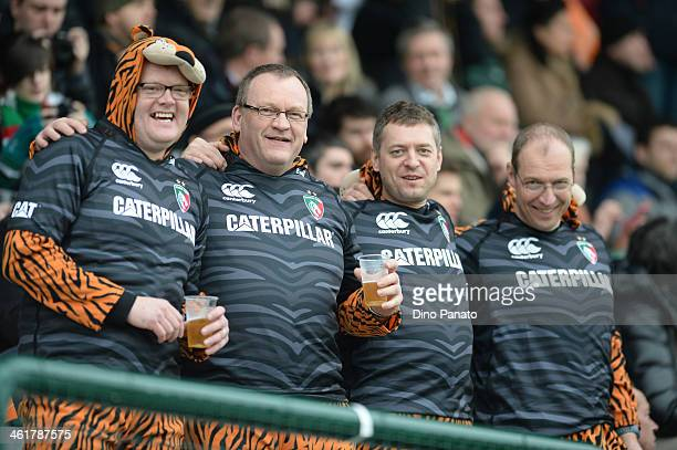 Leicester Tigers fans show their support during the Heineken Cup pool 5 match between Benetton Treviso and Leicester Tigers at Stadio comunale di...