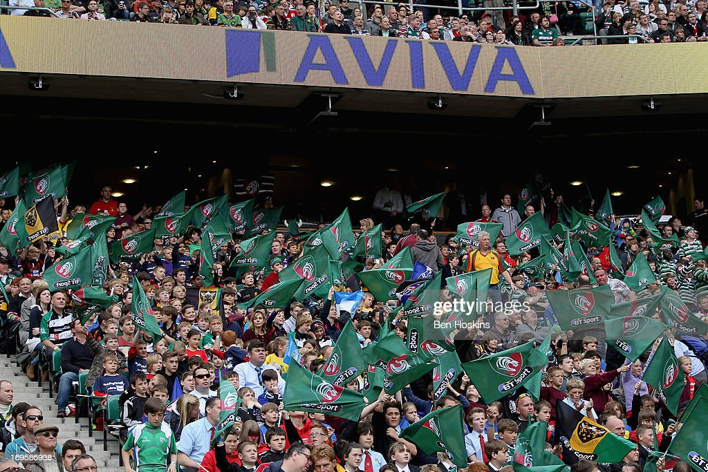 Leicester Tigers Fans wave flags during the Aviva Premiership Final between Leicester Tigers and Northampton Saints at Twickenham Stadium on May 25, 2013 in London, England.