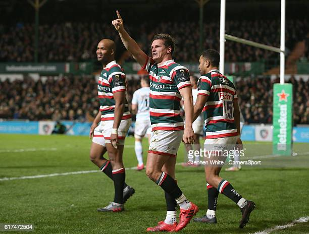 Leicester Tigers' Freddie Burns celebrates scoring his sides second try during the Rugby Champions Cup Pool 1 match between Leicester Tigers and...