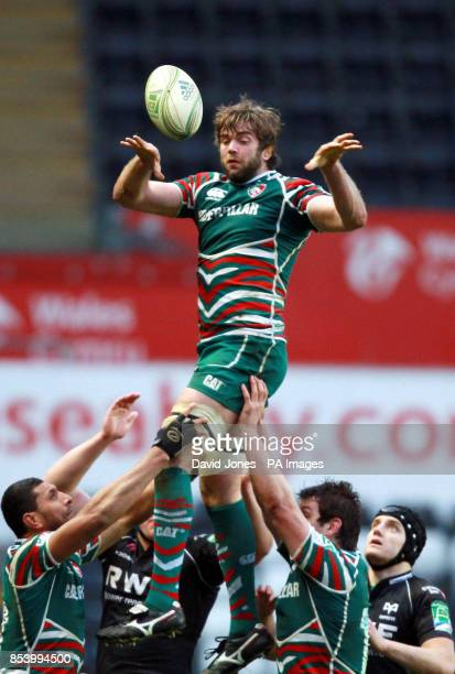 Leicester Tigers' Geoff Parling secures lineout ball against Ospreys during the Heineken Cup Pool Two match at The Liberty Stadium Swansea