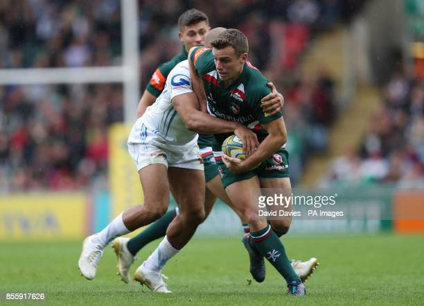Leicester Tigers George Ford is tackled by Exeter Chiefs Olly Woodburn during the Aviva Premiership match at Welford Road Leicester