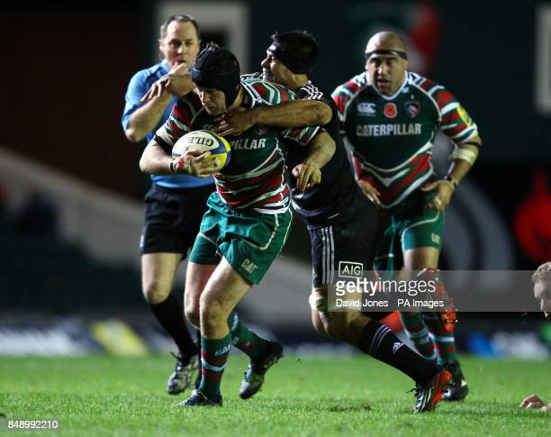 Leicester Tigers' Julian Salvi is tackled by Maori All Blacks Ben Mayduring the tour match at Welford Road Leicester