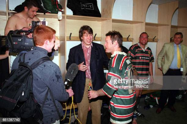 Leicester Tigers' Pat Howard is interviewed in the dressing room following victory