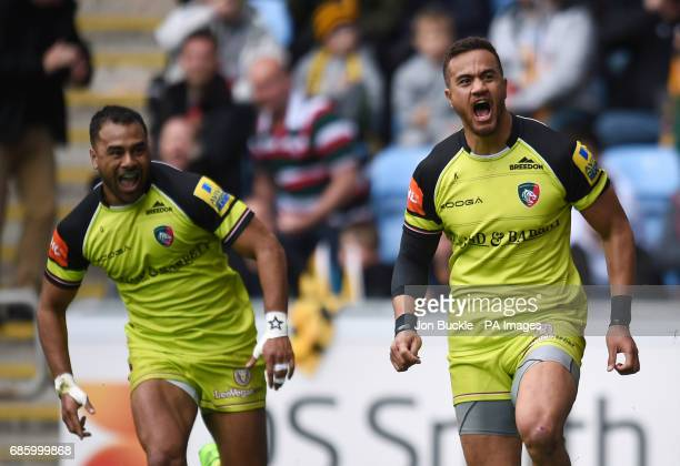 Leicester Tigers' Peter Betham celebrates scoring a try with Telusa Veainu during the Aviva Premiership Semi final match at The Ricoh Arena Coventry