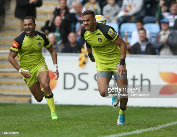 Leicester Tigers' Peter Betham celebrates scoring his sides first try during the Aviva Premiership match between Wasps and Leicester Tigers at The...