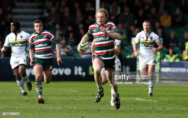 Leicester Tigers' Scott Hamilton runs in for a try under the posts during the LV=Cup Final at Sixways Stadium Worcester