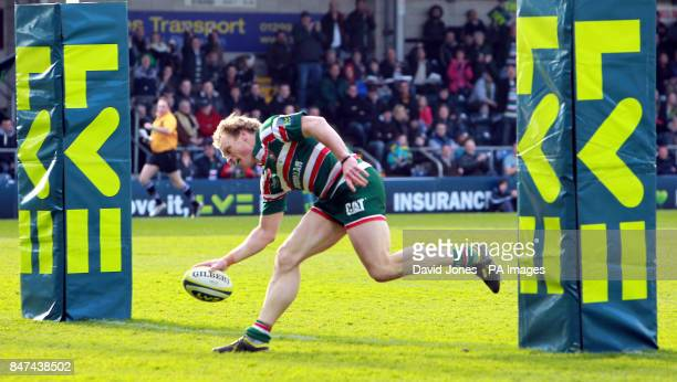 Leicester Tigers' Scott Hamilton touches down under the posts for a try during the LV=Cup Final at Sixways Stadium Worcester