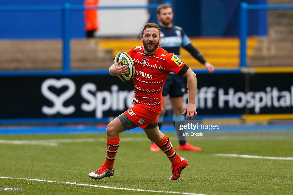 Leicester Tigers scrumhalf David Mele crosses the line to score a try during the LV= Cup match between Cardiff Blues and Leicester Tigers at Cardiff Arms Park on February 7, 2015 in Cardiff, Wales.