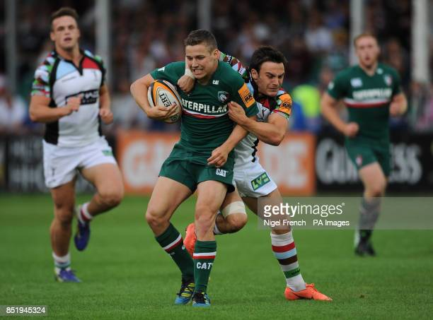 Leicester Tigers' Steff Andrews is tackled by Harlequins Jordan Burns during the JP Morgan Prem Rugby 7's at the Recreation Ground Bath