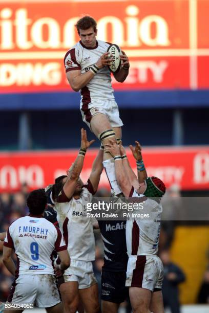 Leicester Tigers' Tom Croft wins a line out