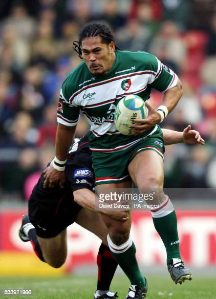 Leicester's Alesana Tuilagi is tackled by Edinburgh's Andrew Turnbull during the Heineken Cup Pool 6 match at Welford Road Leicester