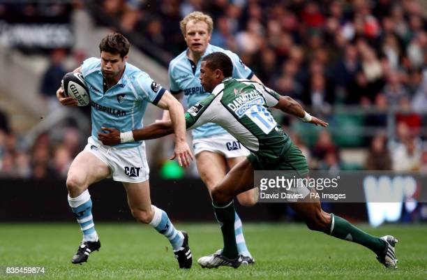 Leicester's Dan Hipkiss is tackled by London Irish's Delon Armitage during the Guinness Premiership Final at Twickenham London