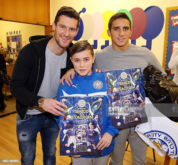 Leicester's David Nugent and Anthony Knockaert during the visit of Leicester City players to Leicester Royal Infirmary to give out Christmas presents...