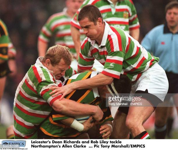 Leicester's Dean Richards and Rob Liley tackle Northampton's Allen Clarke