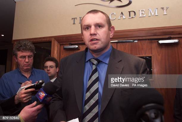 Leicester's Director of Rugby Dean Richards reads a statement to the press at the Filton Holiday Inn Bristol regarding the decision of the Rugby...