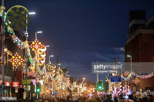 Leicester's Golden mile is illuminated to celebrate the Hindu festival of Diwali on October 23 2014 in Leicester England Up to 35000 people attended...