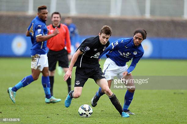 Leicester's Harry Panayiotou with Everton's Joe Williams during the Barclays U21 League match between Leicester City and Everton at Belvoir Drive...