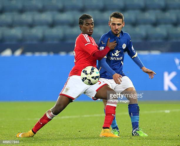 Leicesters Kris Scott challenges with Benfica's Joao Teixeira during the Premier League International Cup match between Leicester City FC and Benfica...