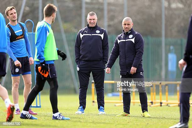 Leicester's manager Nigel Pearson looks on with coach Kevin Phillips during the Leicester City training session at Belvoir Drive Training Ground on...