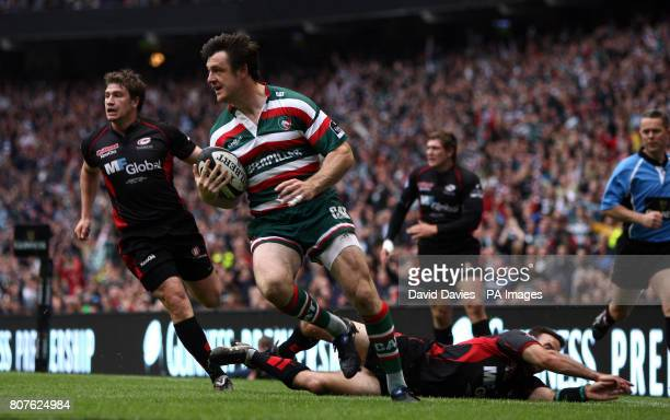 Leicester's Matt Smith runs in his sides first try during the Guinness Premiership Final at Twickenham London