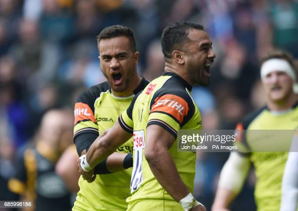 Leicester's Peter Betham celebrates scoring a try with Telusa Veainu during the Aviva Premiership Semi final match at The Ricoh Arena Coventry