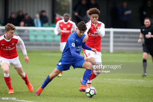 Leicester's Raul Uche Rubio under pressure from Reiss Nelson during the Leicester City v Arsenal U23 PL2 match at Holmes Park on February 19 2017 in...