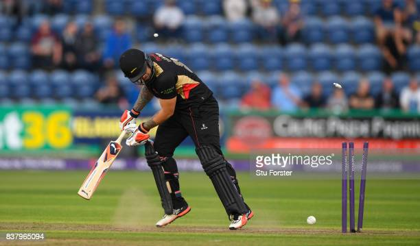 Leicestershire batsman Cameron Delport is bowled by Marchant de Lange for 10 runs during the NatWest T20 Blast QuarterFinal match between Glamorgan...