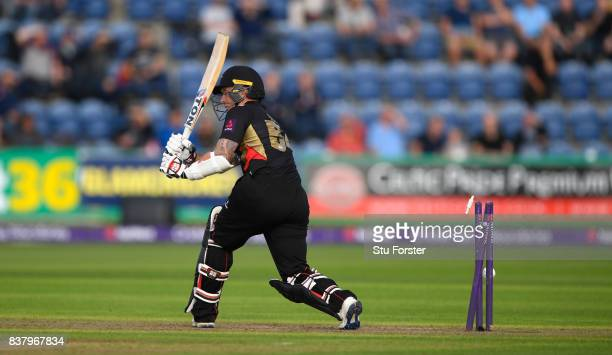Leicestershire batsman Luke Ronchi is bowled by Graham Wagg during the NatWest T20 Blast QuarterFinal match between Glamorgan and Leicestershire...