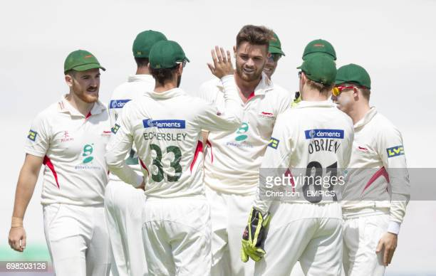 Leicestershire bowler Nathan Buck celebrates the wicket of Surrey opening batsman Rory Burns after scoring 13 runs at the Kia Oval on the first day...