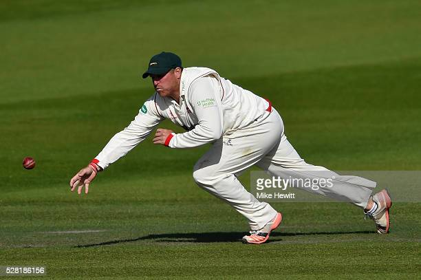Leicestershire captain Mark Cosgrove bravely dives to field despite his hip injury the Specsavers County Championship Division Two match between...