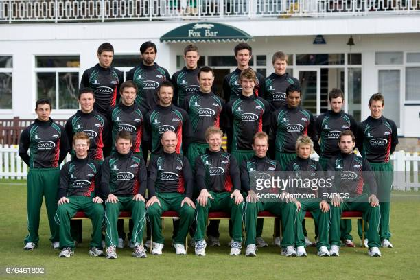 Leicestershire County Cricket Team Group in Twenty20 kit left to right Nathan Buck Nadeem Malik Wayne White Sam Cliff and Josh Cobb Joel Pape Greg...
